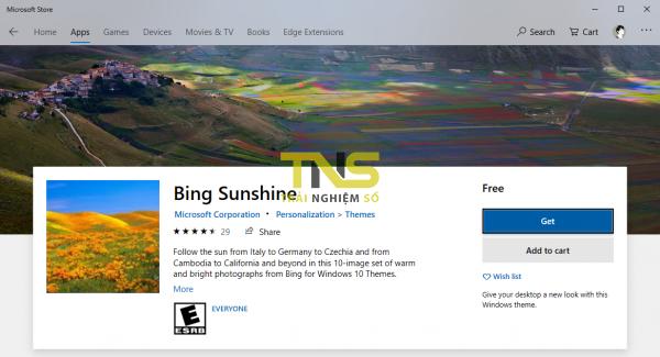 Cách lấy hình ảnh trong theme của Windows 10