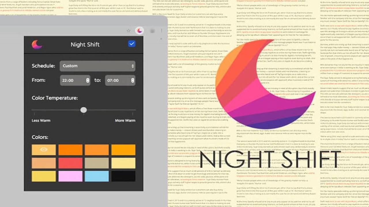 Night Shift featured - Chống mỏi mắt trước ánh sáng xanh khi duyệt web trên Chrome, Cốc cốc, Opera,…