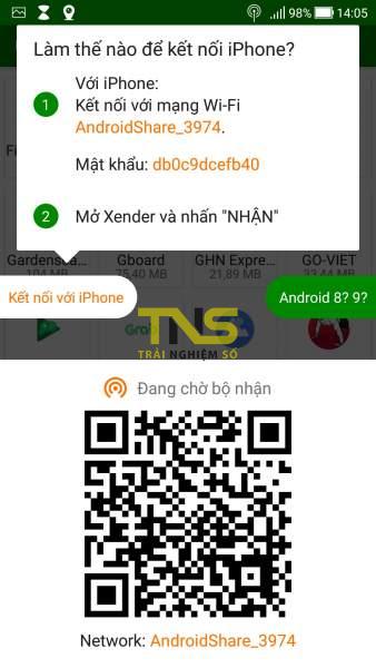 Dùng Xender chia sẻ file không giới hạn đến thiết bị nhận không có mạng