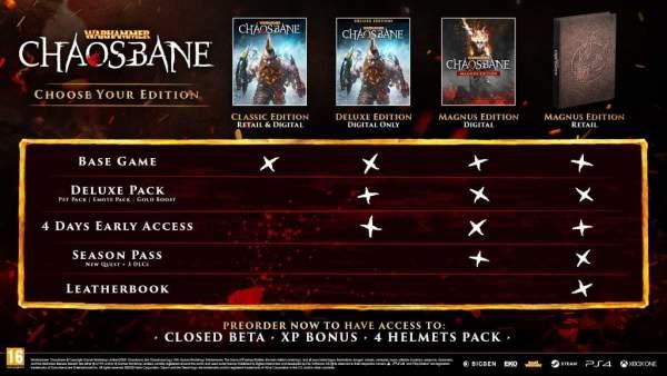 """warhammer chaosbane edition compare 600x338 - Game """"chặt chém"""" Warhammer: Chaosbane hé lộ ngày phát hành và thông tin thử nghiệm beta"""
