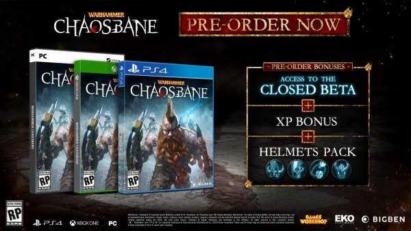 """warhammer chaosbane pre order 600x338 - Game """"chặt chém"""" Warhammer: Chaosbane hé lộ ngày phát hành và thông tin thử nghiệm beta"""