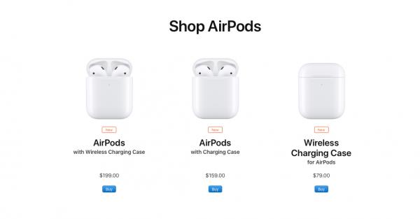 """gia AirPods 2019 600x313 - Apple AirPods 2 ra mắt: chip H1 hỗ trợ """"Hey Siri"""", sạc không dây, giá từ 3.69 triệu đồng"""
