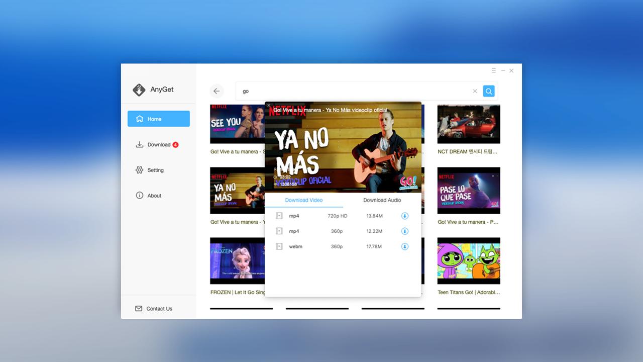 AnyGet featured - Tải video YouTube và hơn 1000 trang web trên Windows 10 với AnyGet