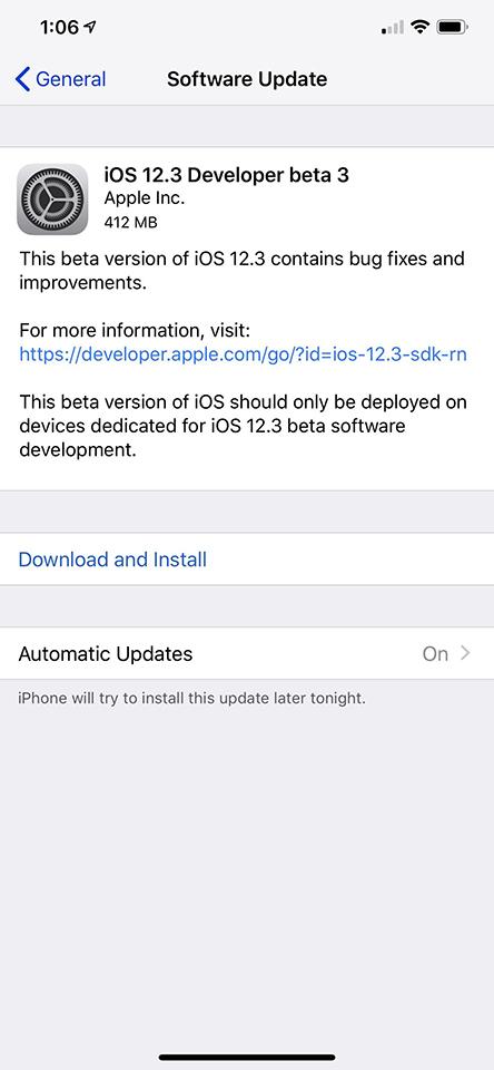 ios 12 3 beta 3 - Đã có iOS 12.3 beta 3, mời bạn cập nhật