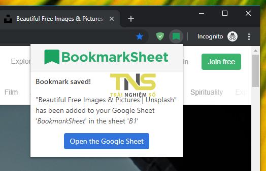2019 06 01 15 56 40 - Cách lưu trang web trên Google Chrome vào Google Sheet