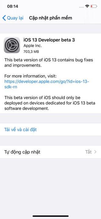 ios 13 beta 3 1 - Đã có iOS 13 Developer beta 3, mời bạn cập nhật