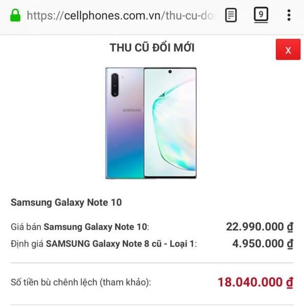 """thu cu doi moi cellphones 594x600 -""""Thu cũ, đổi mới Note10"""" cửa hàng định giá Note 8 chỉ 400 ngàn đồng khiến người dùng bức xúc"""