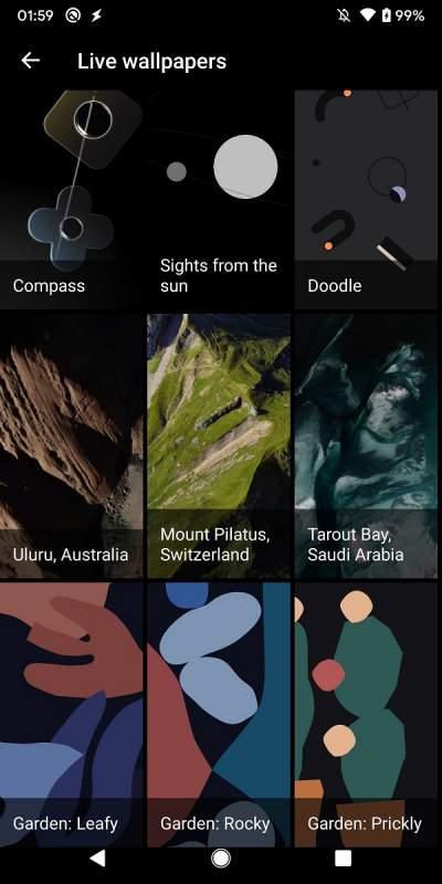 Google Pixel 4 List of Live Wallpapers 400x800 - Hướng dẫn cài đặt ảnh động Pixel 4 lên điện thoại Android khác