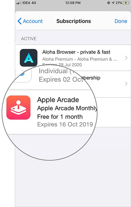 Tap on Apple Arcade in iOS App Store Subscription Settings - Cách huỷ đăng ký Apple Arcade