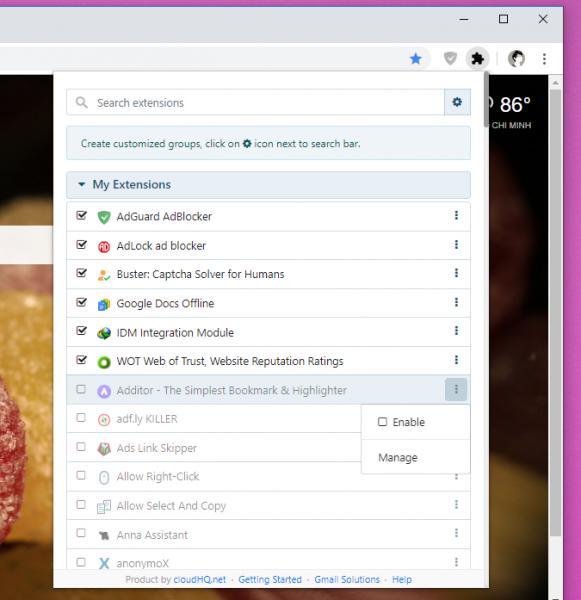 2019 10 23 16 08 32 581x600 - Quản lý, nhóm tiện ích mở rộng Chrome dễ dàng với Chrome Extension Manager by cloudHQ