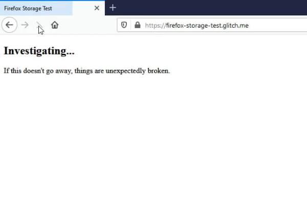 Firefox Storage test 600x402 - Khắc phục lỗi không tải được trang web trên Firefox 70