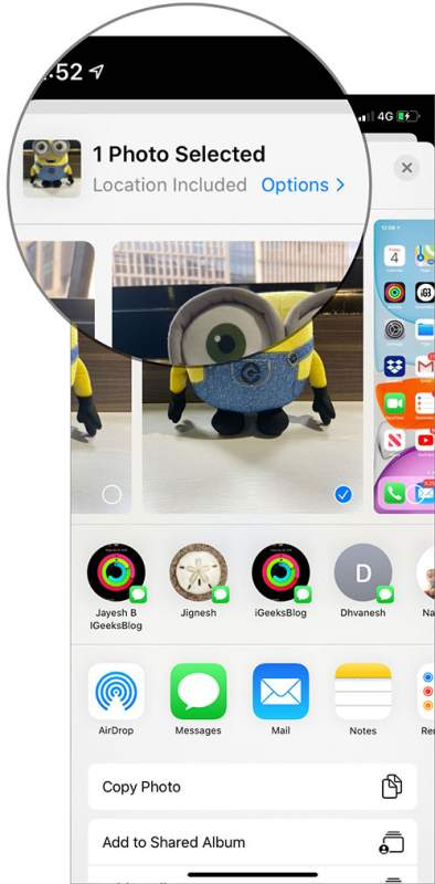 Tap on Options to Photo in Photos App Share Sheet 394x800 - Cách xóa thông tin vị trí khỏi ảnh và video trên iOS 13