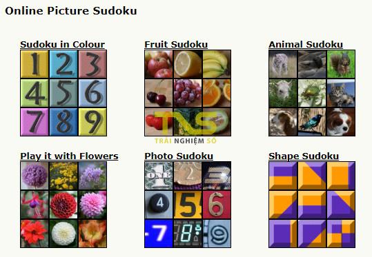 picture sudoku 1 - 4 địa chỉ chơi Sudoku dạng hình ảnh trực tuyến miễn phí