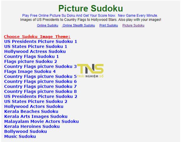 picture sudoku 3 - 4 địa chỉ chơi Sudoku dạng hình ảnh trực tuyến miễn phí