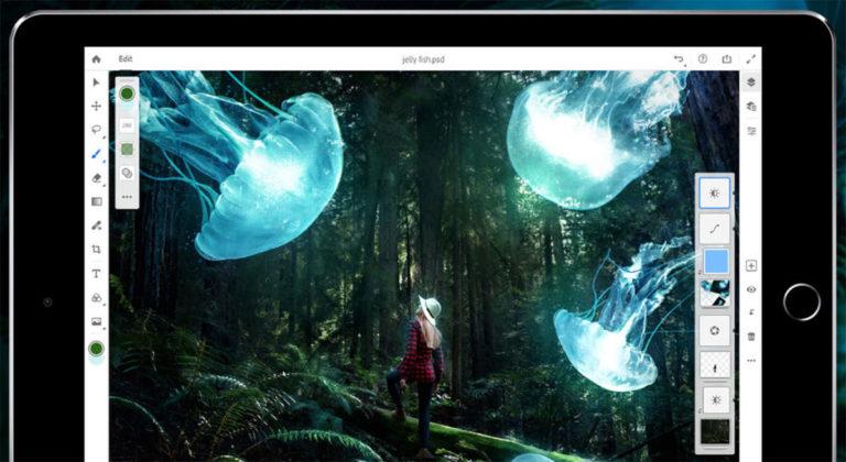 adobe photoshop ipad 768x420 - Adobe Photoshop đã có phiên bản dành cho iPad