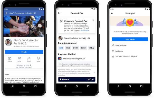 fb pay donation flow 600x384 - Facebook Pay cho phép thanh toán trên Messenger, WhatsApp và Instagram