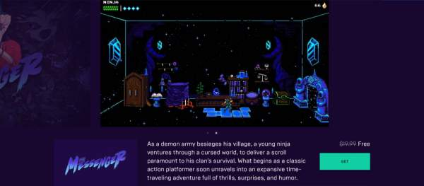 the messenger free epic games store 1 600x263 - Đang miễn phí game đi cảnh màn hình ngang The Messenger cực hay