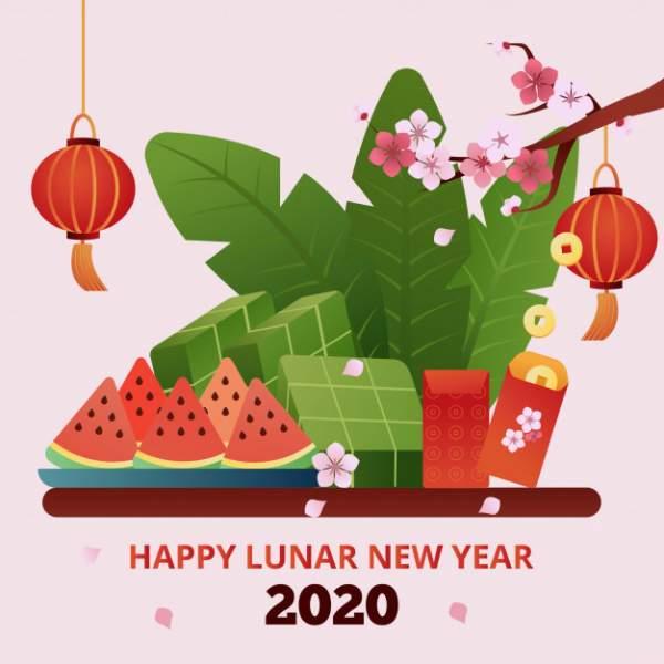 happy lunar new year 2020 600x600 - Chia sẻ hình nền Tết Canh Tý 2020 dễ thương cho desktop và điện thoại