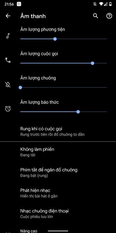 Cách thiết lập rung và chuông lớn dần khi nhận cuộc gọi trên Android 10 1