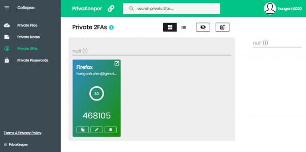 PrivaKeeper: quản lý mật khẩu, file, khóa xác thực, ghi chú an toàn 6