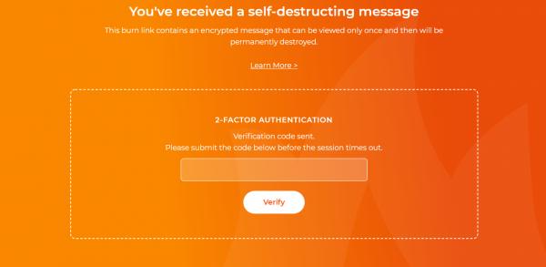"""2020 03 02 17 34 42 600x293 -""""Chiêu độc"""" gửi tin nhắn tự hủy an toàn với xác thực 2 yếu tố"""
