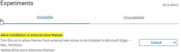 Edge Allow Store Extension themes flag 600x172 - Cách cài đặt theme của Chrome Web Store lên Microsoft Edge Chromium