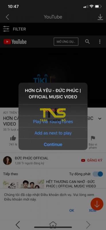 youngtunes 5 369x800 - YoungTunes - nghe nhạc YouTube trên iPhone khi tắt màn hình, tải video về