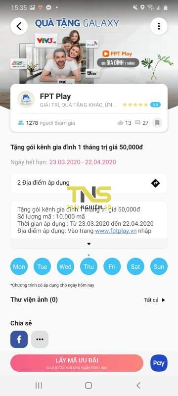 Cách dùng điện thoại Samsung lấy 1 tháng sử dụng FPT Play