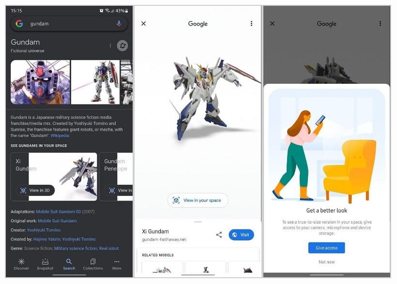 Danh sách đầy đủ con vật 3D, gundam,... trên Google Search