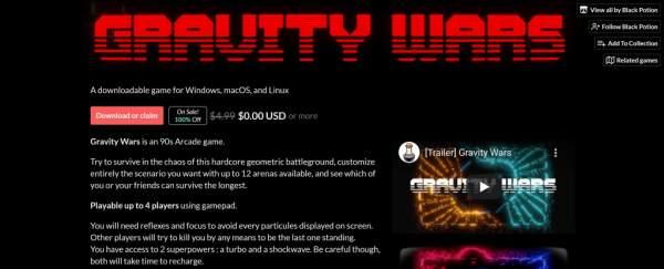 Đang miễn phí game Gravity Wars trên itch.io