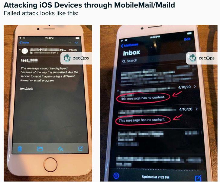 Lỗ hổng nghiêm trọng: iPhone bị hack chỉ bằng cách gửi email 1