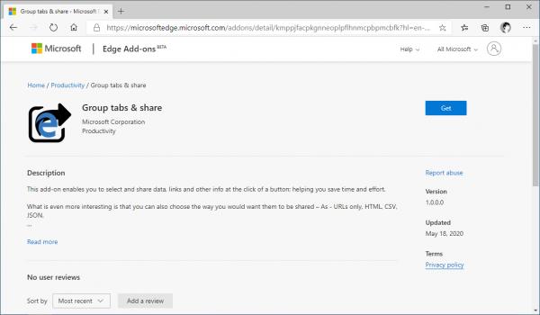 Dùng thử tiện ích Group tabs & share của Microsoft để chia sẻ nhiều trang web trong 1 cú click 1