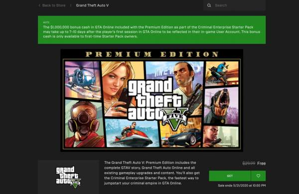 "grand theft auto 5 free epic games store 1 600x390 - Đang miễn phí game""bom tấn"" Grand Theft Auto V Premium Edition"