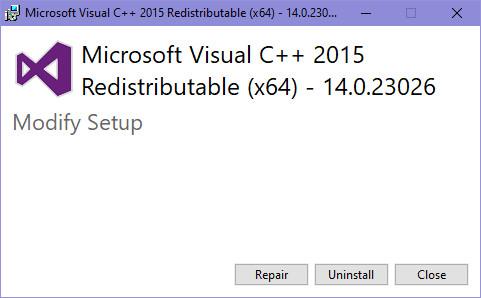 "visual c retribution 2015 1 - Cách sửa lỗi""api-ms-win-crt-runtime-l1-1-0.dll is missing"""