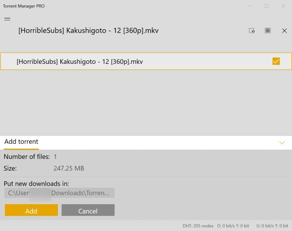 Tải torrent trên Windows 10 với Torrent Manager PRO 2