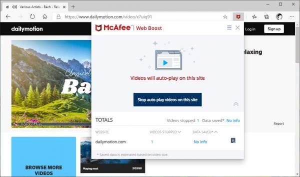 McAfee® Web Boost: ngăn video tự động phát làm chậm trình duyệt 2