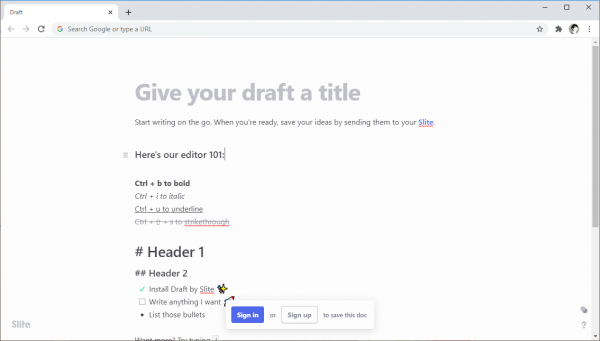 Soạn thảo văn bản như Google Docs trên trang New Tab Chrome 1
