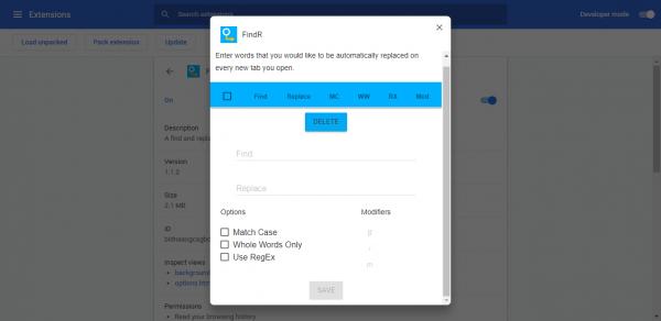 Tìm kiếm từ, thay thế từ trên trang web trong Chrome 4