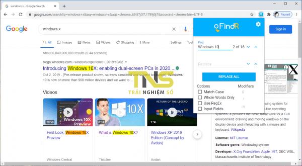 Tìm kiếm từ, thay thế từ trên trang web trong Chrome 2