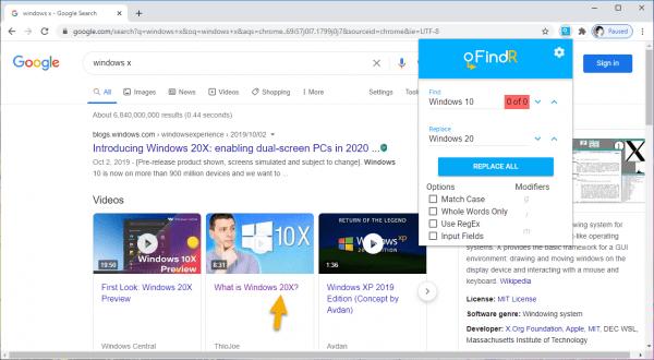 Tìm kiếm từ, thay thế từ trên trang web trong Chrome 3
