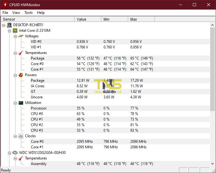 Test nhiệt độ CPU nhanh với CPUID HWMonitor