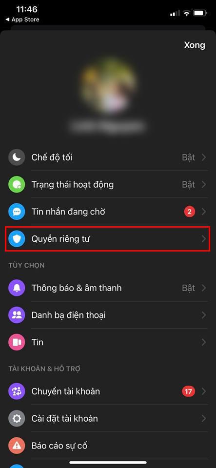 Khoá ứng dụng Facebook Messenger bằng Face ID