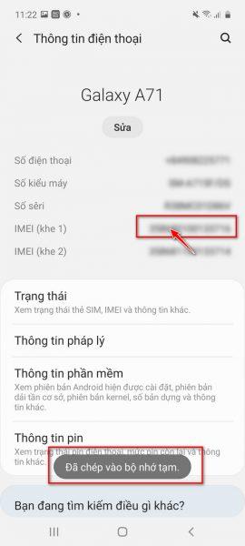 kiểm tra IMEI điện thoại Samsung