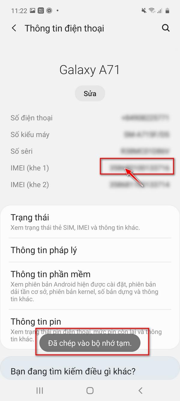 Cách kiểm tra điện thoại Samsung chính hãng