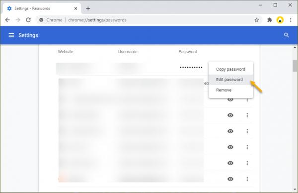 Cách chỉnh sửa mật mã của tài khoản web đã lưu trên Chrome 4