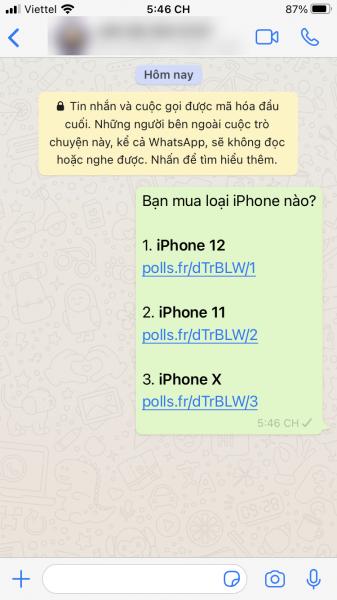 Tạo, chia sẻ cuộc thăm dò tự hủy trong WhatsApp 1