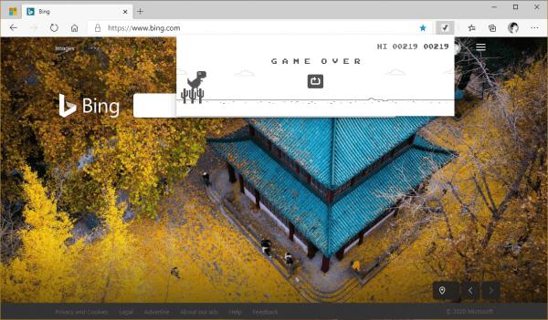 Cách chơi game khủng long T-Rex của Chrome trên Microsoft Edge 2