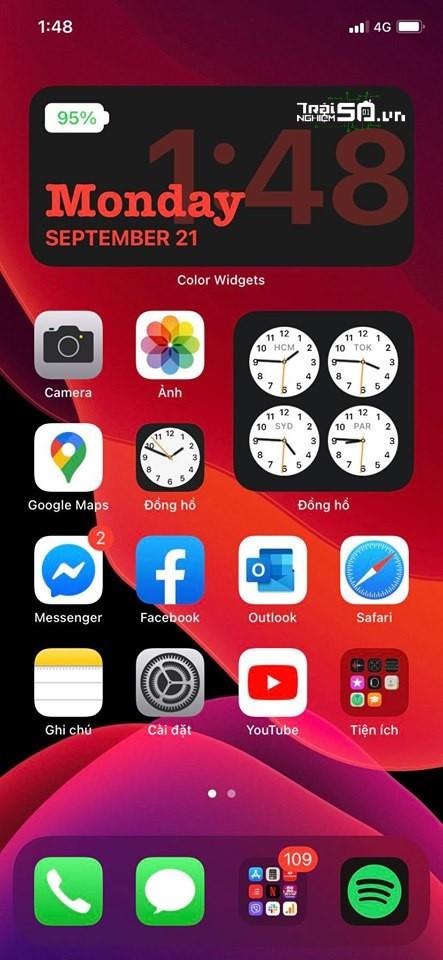 Cách thêm thanh pin và lịch xịn vào widget iOS 14 7