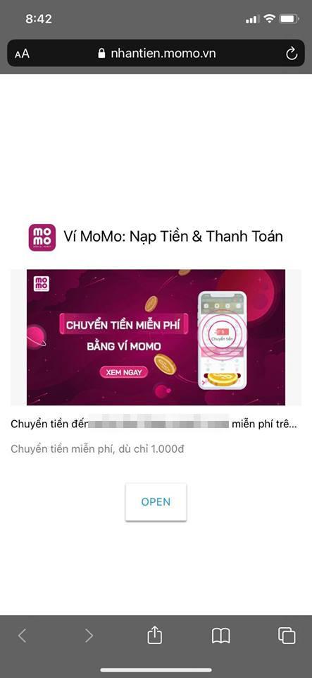 Cách tạo liên kết chuyển tiền trên Momo 5
