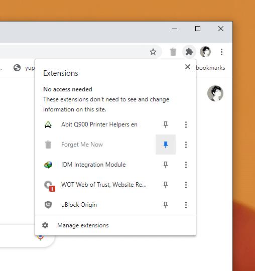 Forget Me Now: xóa dữ liệu web tự động khi đóng tab trên Chrome 1